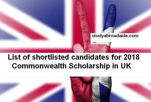 List of shortlisted candidates for 2018 Commonwealth Scholarship in UK